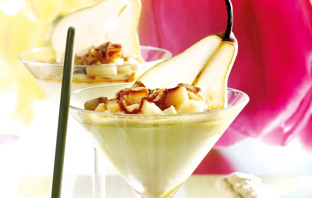 Mousse de Reblochon, poire et caramel au beurre salé
