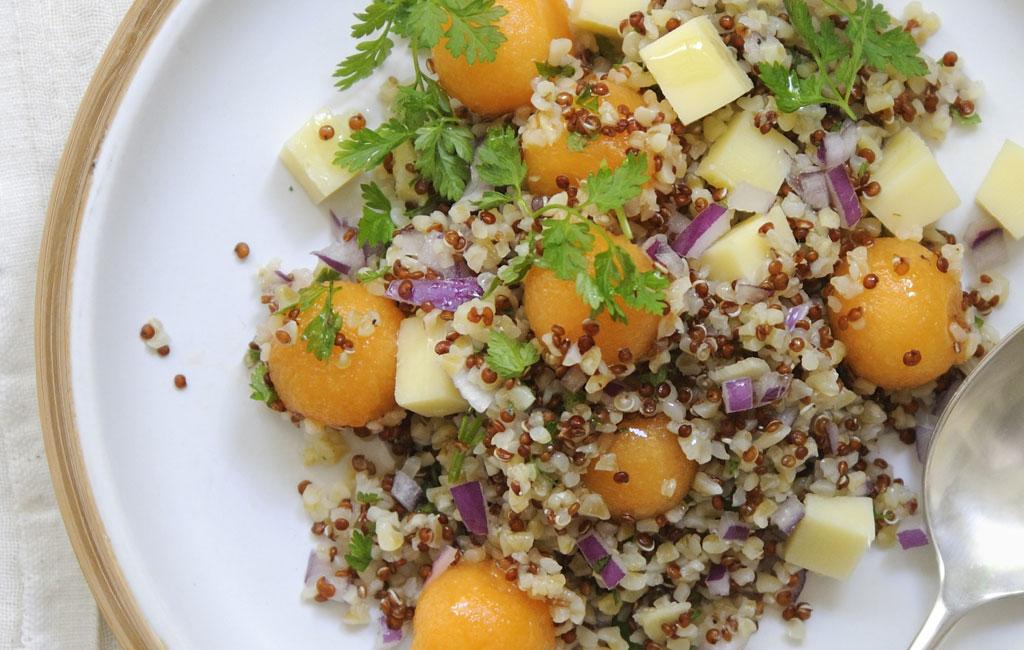 Petite salade de quinoa, melon et Beaufort