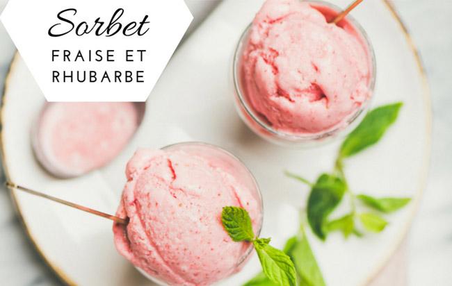 """Recette : Sorbet fraise et rhubarbe """"fait maison"""" pour un sorbet sucrée et acidulée"""