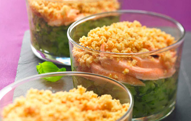 Recette de la verrine courgette saumon version crumble