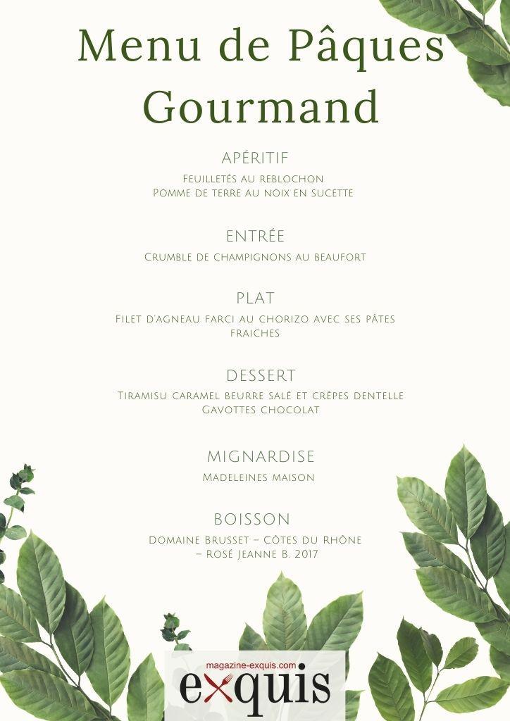 Menu de Pâques Gourmand
