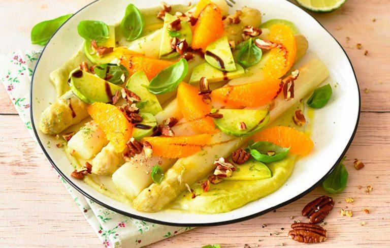 Salade d'Asperges des Sables des Landes IGP à l'avocat aux oranges et noix de pécan